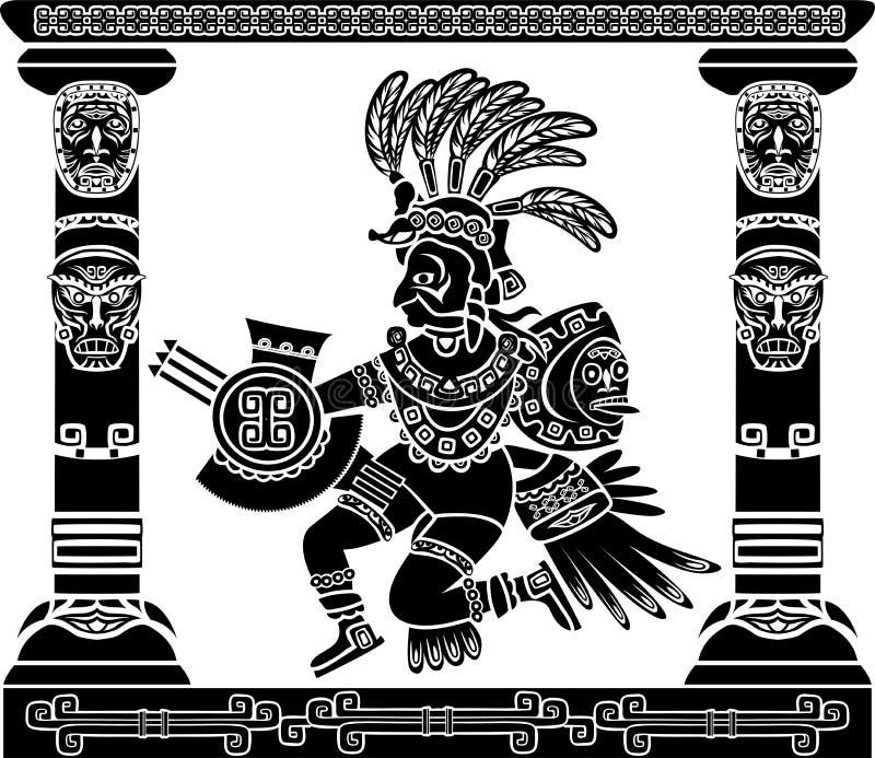 Aztec gud Quetzalcoatl stock illustrationer