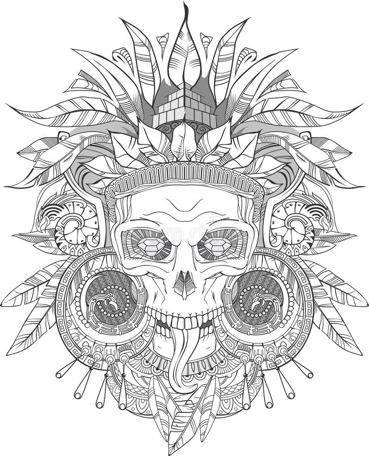 Aztec indian Skull royalty free stock images