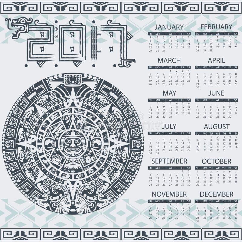 Aztec kalender 2017 royaltyfri illustrationer