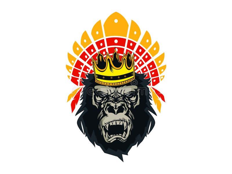 Logo Gorilla Head King Kong stock illustration