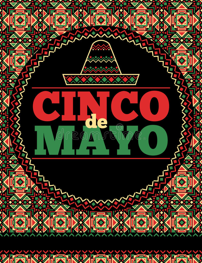 Aztec mall för reklamblad för stilcincode mayo stock illustrationer
