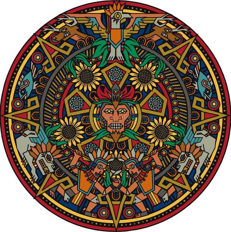 Aztec Mandala royaltyfri illustrationer