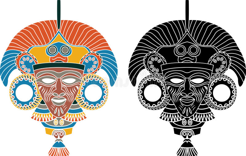 Download Aztec mask stencil stock vector. Image of history, graphic - 15926805