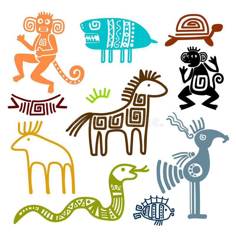 Aztec and maya ancient animal symbols. Isolated on white background. Inca indians culture patterns vector illustration royalty free illustration