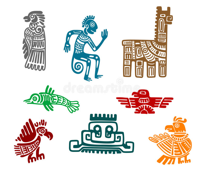 Aztec and maya ancient drawing art. Isolated on white background royalty free illustration