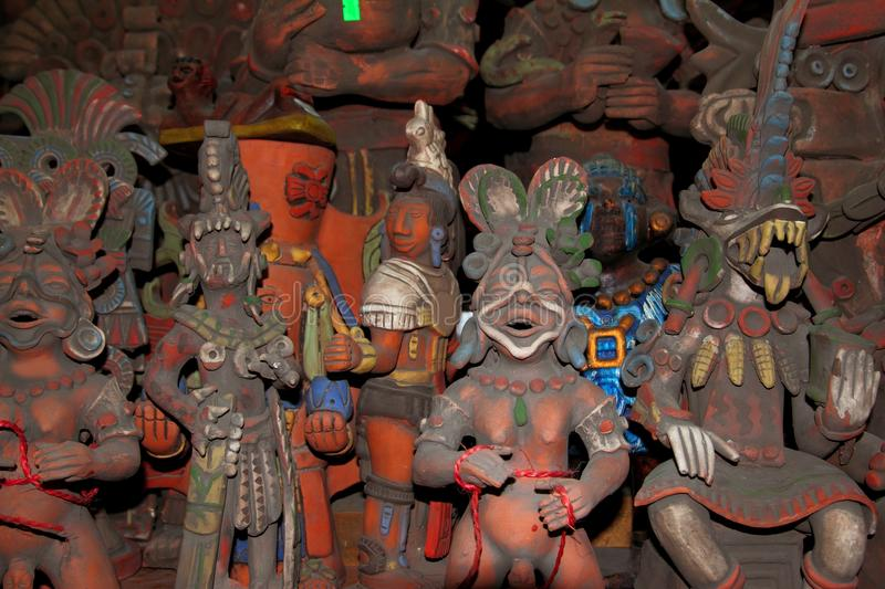 Aztec and Mayan figurines statues clay Mexico. Typical stock photography
