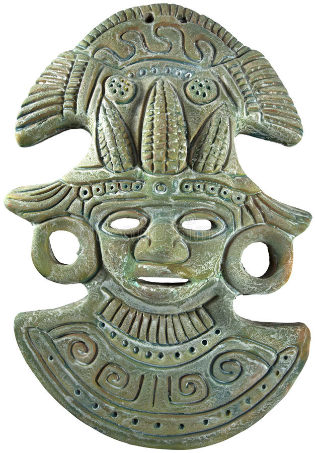Aztec Mayan Maize God Mask - Mexico. Aztec Mayan clay mask painted (green) Maize God - Mexican crafts royalty free stock images