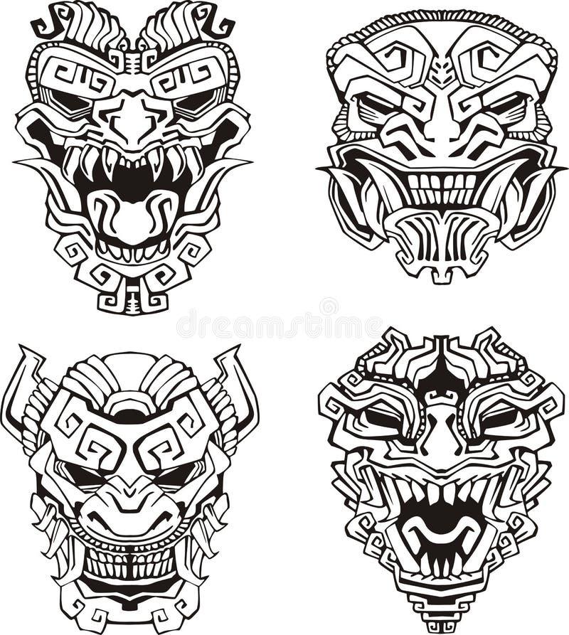 Free Aztec Monster Totem Masks Stock Image - 28065331