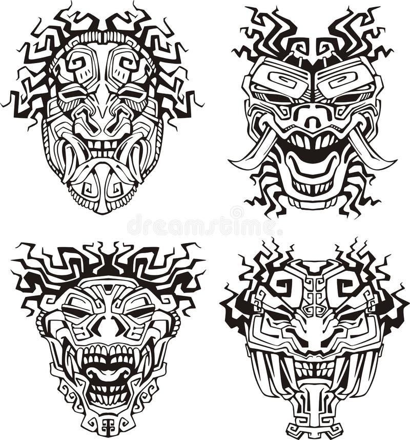 Free Aztec Monster Totem Masks Stock Photos - 28065333