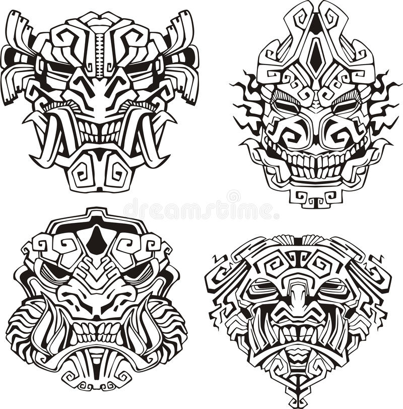 Free Aztec Monster Totem Masks Royalty Free Stock Photos - 28065338