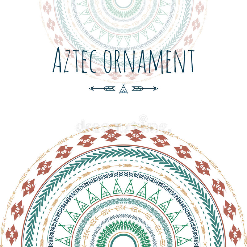 Aztec ornament circle greeting card. Tribal design for your invitations. stock illustration
