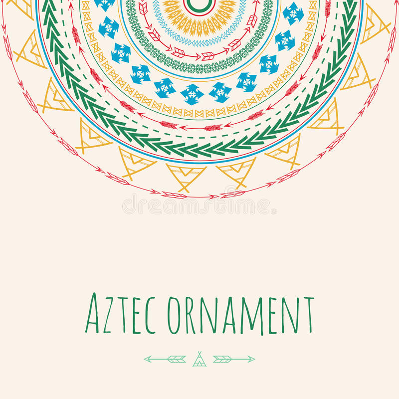 Aztec ornament circle greeting card. Tribal design for your own invitations. vector illustration