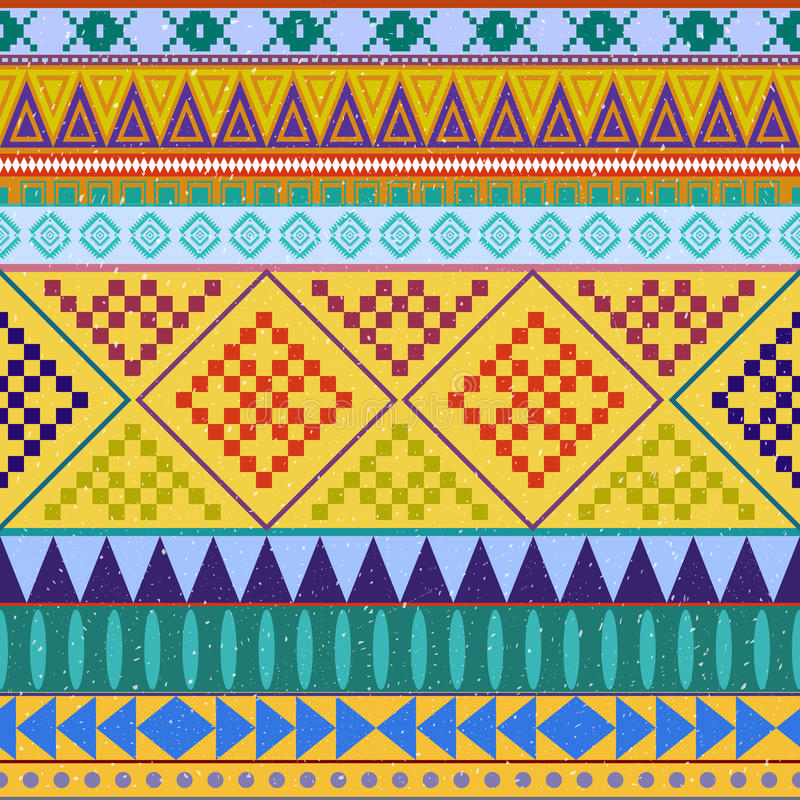 Aztec peruvian ethnic seamless pattern, tribal pink and orange background. Bright background for greeting cards stock illustration