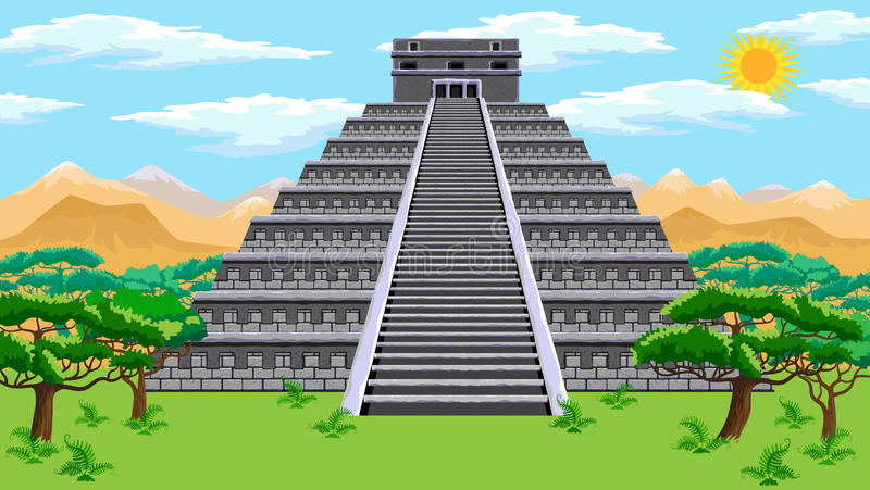 Aztec pyramid vektor illustrationer