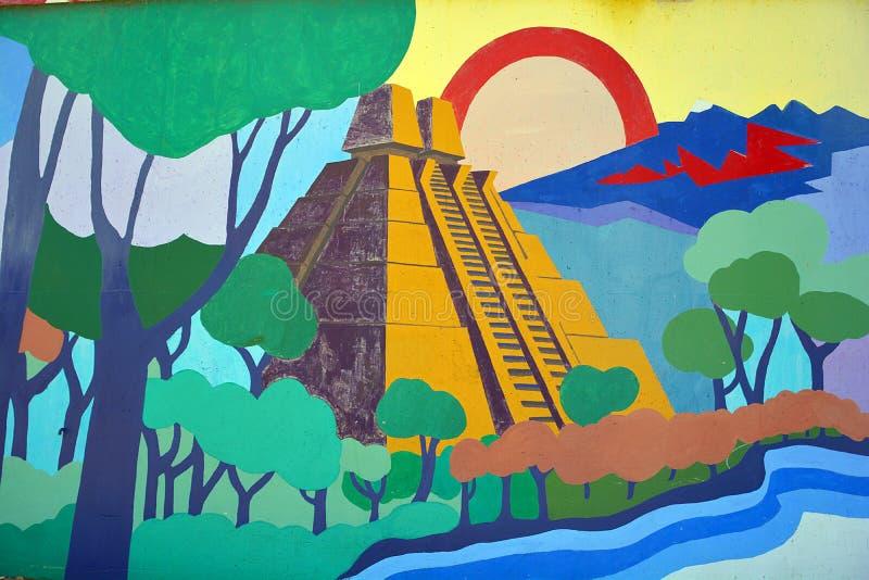 Aztec pyramid mural stock photography