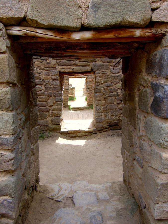 Aztec Ruins National Monument. Ancient doorways at Aztec Ruins Ancestral Puebloan site in New Mexico royalty free stock photo