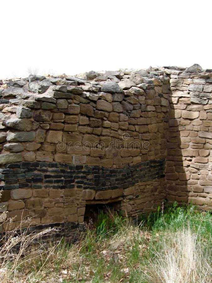 Aztec Ruins National Monument. Crumbling stone walls at Aztec Ruins Ancestral Puebloan site in New Mexico stock photo
