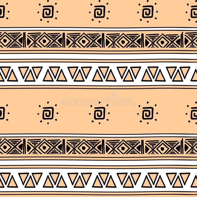 Aztec sömlös modell med bakgrund för stam- hand för pastellfärgade färger utdragen flerfärgad Etnisk dra symbolvektorillustration royaltyfri illustrationer