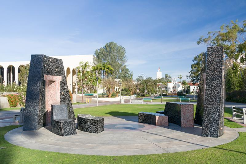Aztec Sculpture on the Campus of San Diego State University. SAN DIEGO, CA/USA - JANUARY 13, 2018: Aztec Sculpture on the campus of San Diego State University royalty free stock photography