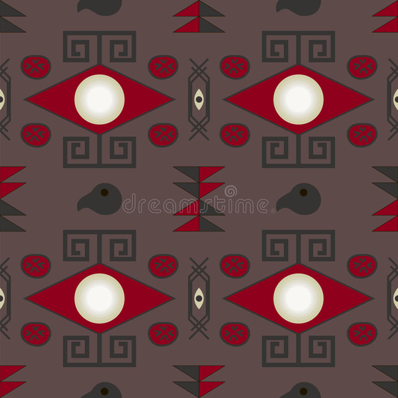 Aztec seamless pattern. On brown background royalty free illustration