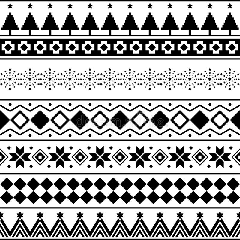 Aztec Seamless Pattern Vector. Marry christmas shape and geometry background design tribal. Aztec, Inca, Egypt, Indian, vector illustration