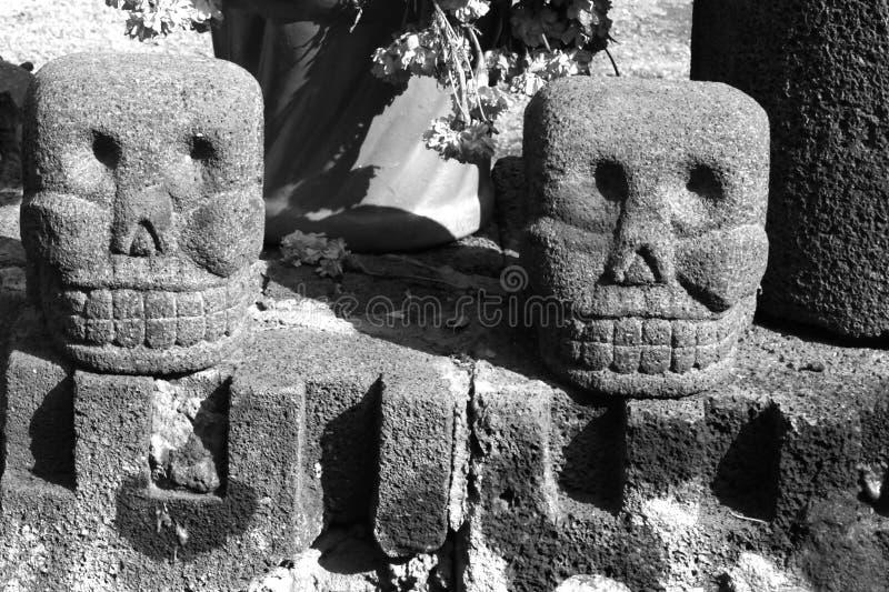 Aztec skulls I. Ancient aztec skulls. Mexico city, Mexico royalty free stock photos