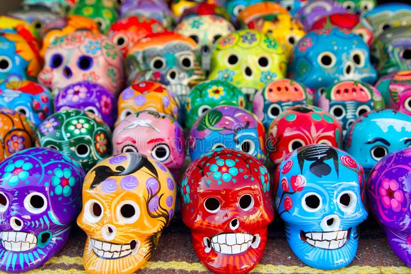 Aztec skulls Mexican Day of the Dead colorful. Handcrafts stock images