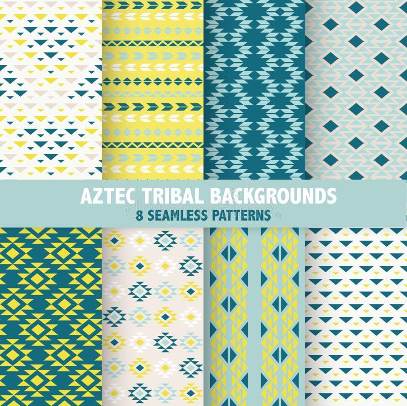 Aztec stam- bakgrunder för tappning stock illustrationer