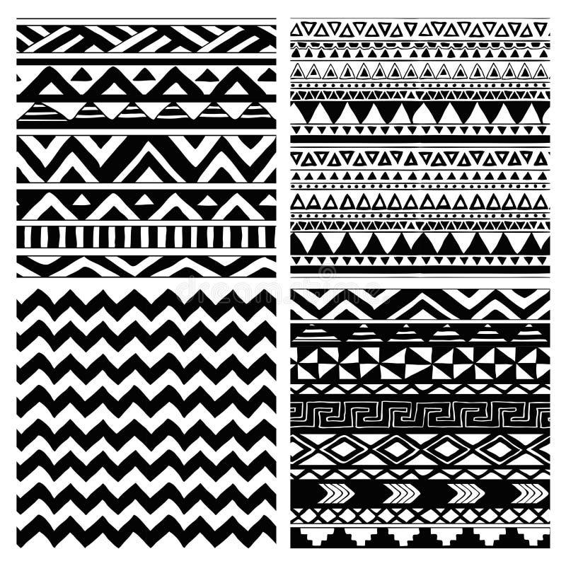 Aztec stam- sömlös svartvit modelluppsättning royaltyfri illustrationer