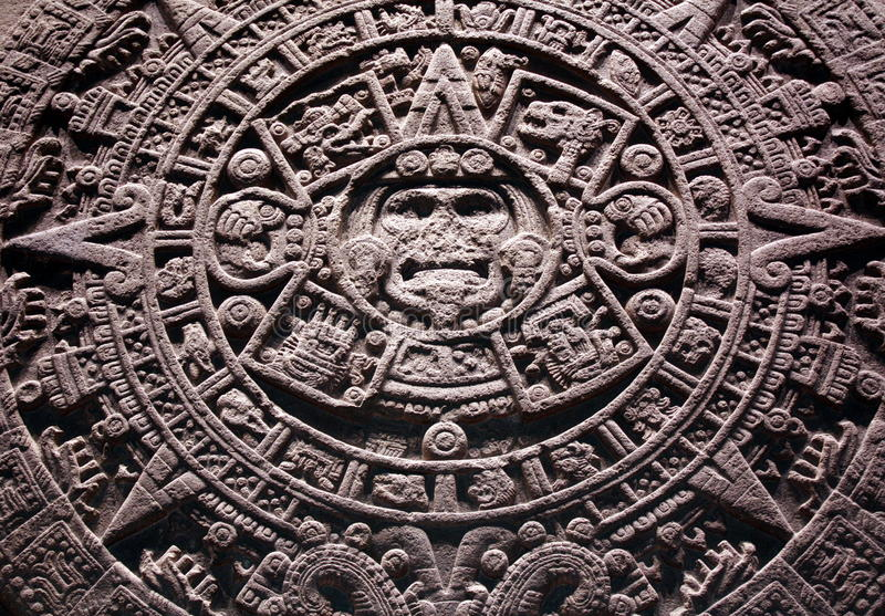 Aztec stone calendar stock photo
