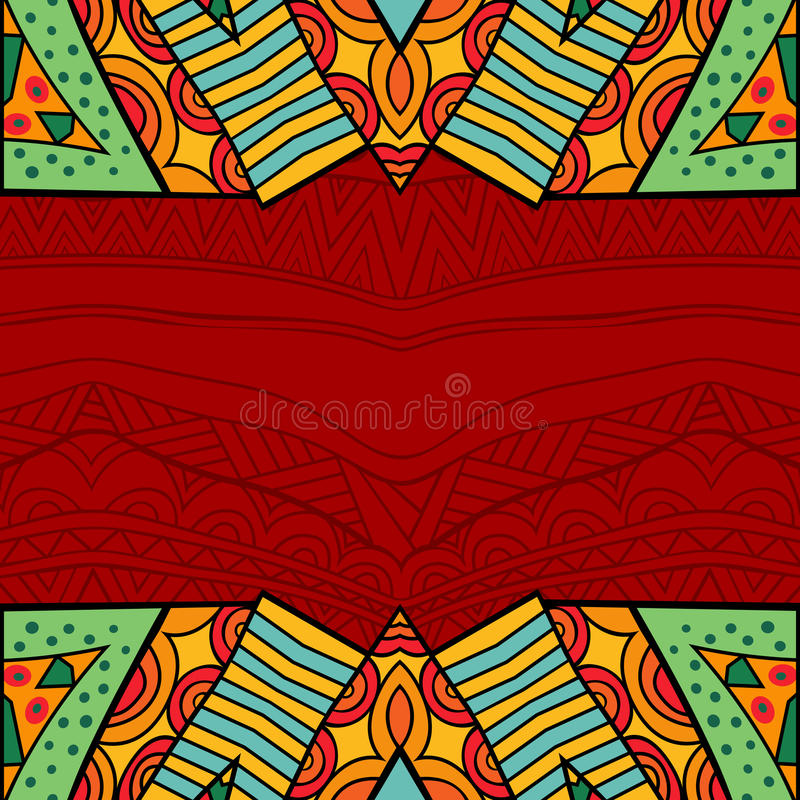 Free Aztec Style Tribal Ornate Background In Bright Colors. Stock Photos - 98683803