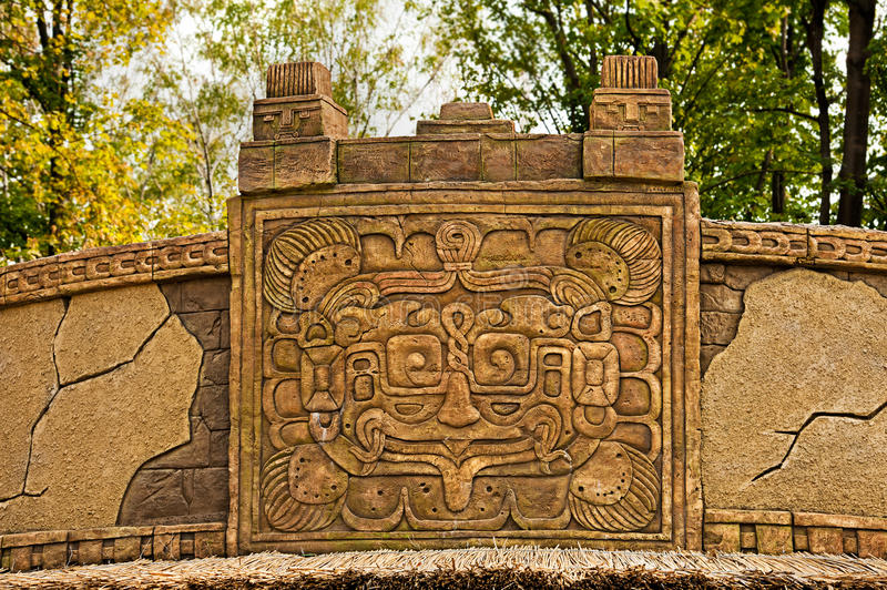 Aztec style wall decoration. Outdoor stock photo