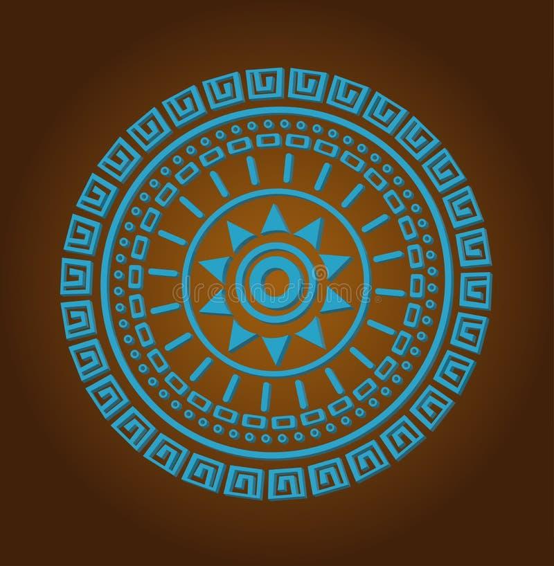 Aztec sun circle ornament stock illustration