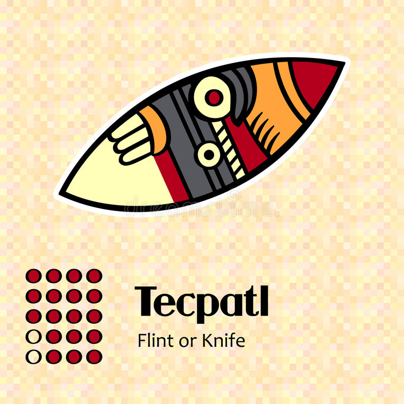 Aztec symbol Tecpatl royalty free illustration