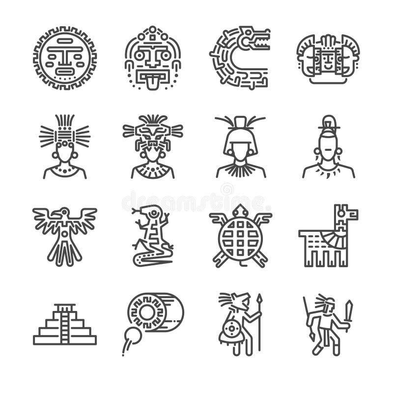 Aztec symbolsuppsättning Inklusive symbolerna som maya, mayan, stammen, antikvitet, pyramiden, krigare och mer stock illustrationer