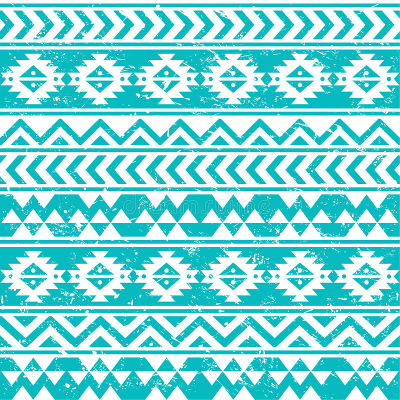 Aztec tribal seamless grunge white pattern on blue background royalty free illustration