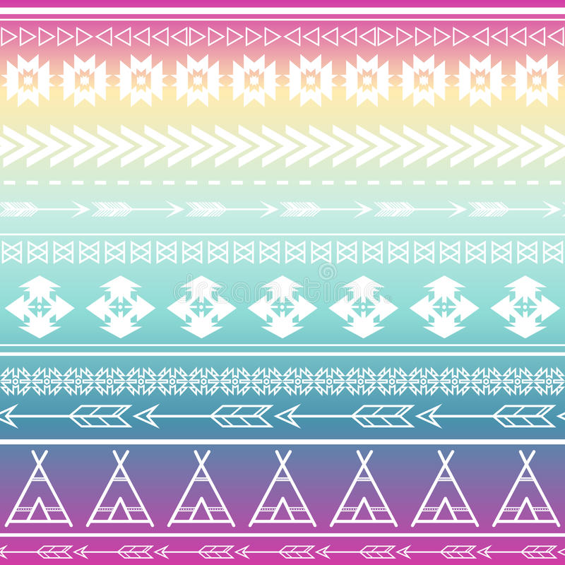 Aztec tribal seamless multicolor pattern background. Tribal design can be applied for invitations, fashion fabrics royalty free illustration
