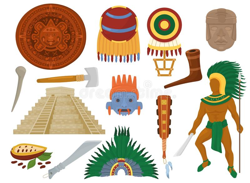 Aztec vector mexican ancient culture in Mexico and maya man character of mayan civilization illustration set of stock illustration