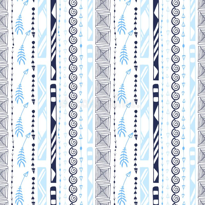 Aztec vector seamless pattern. Modern ornamental background. Geometrical Ethnic print for textile and wallpaper design. stock illustration