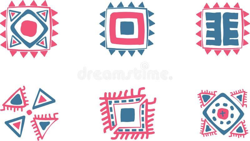 Aztec vektorsymboler vektor illustrationer