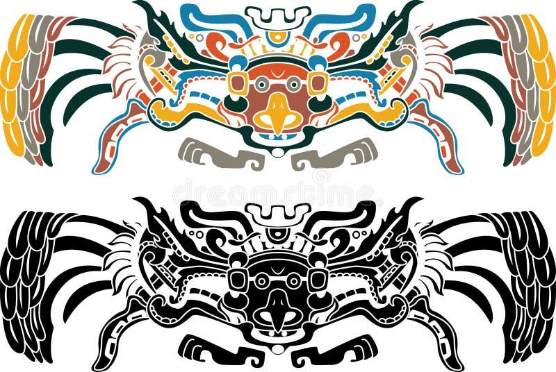 aztec wn för variants för fågelstencil två stock illustrationer