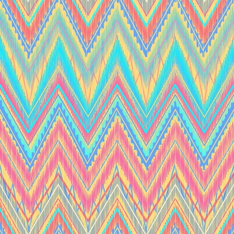 Aztec zigzag. Ethnic zigzag, pattern in bright colors Aztec style. Can be used as seamless pattern or vector background royalty free illustration
