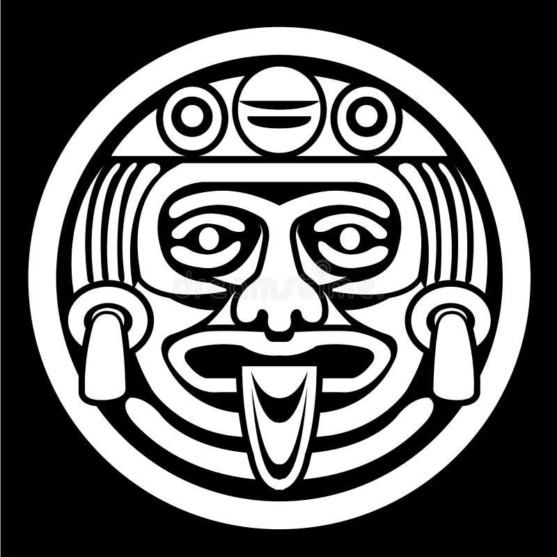 Aztecen vänder mot maskerar royaltyfri illustrationer