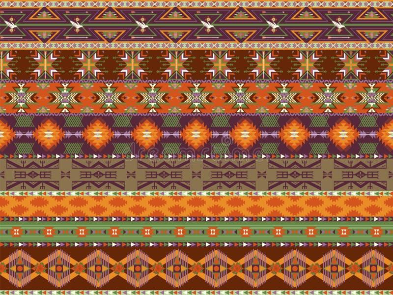 Aztecs colorful seamless pattern with bird stock illustration