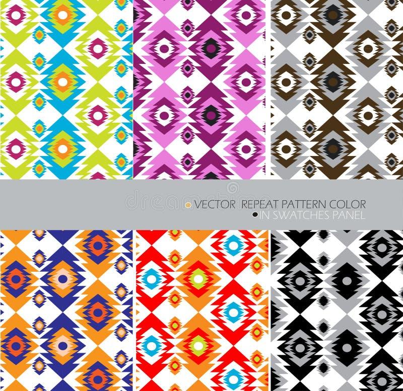 Aztecs herhalen patroon de moderne kleur 6 etnische abstracte achtergrond plaatste stock illustratie