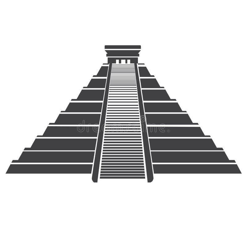 Azteeks die piramidepictogram op whit wordt geïsoleerd Mayan oriëntatiepunt in Mexico stock illustratie