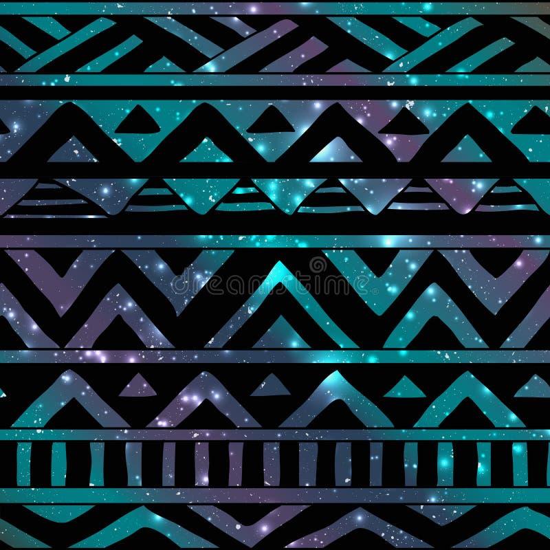 Azteeks Stammen Naadloos Patroon op Kosmische Achtergrond stock illustratie