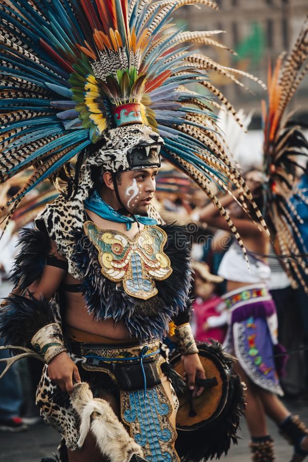 Azteekse dansen, Mexico-City royalty-vrije stock afbeeldingen