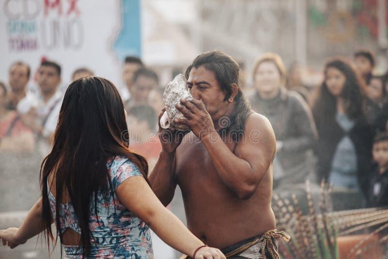 Azteekse Medicijnman, Mexico-City royalty-vrije stock afbeeldingen