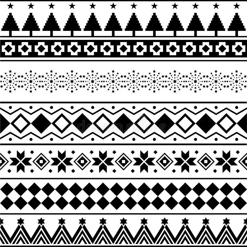 Azteekse Naadloze Patroonvector Huw Kerstmisvorm en meetkundeontwerp als achtergrond stammen Aztec, Inca, Egypte, Indiër, vector illustratie